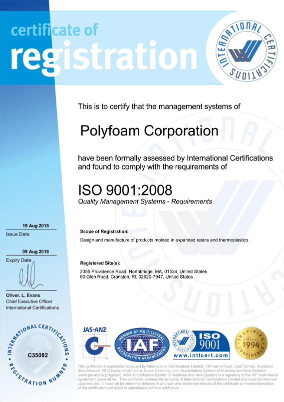 Polyfoam Corporation Is A Registered Iso 9001 Company