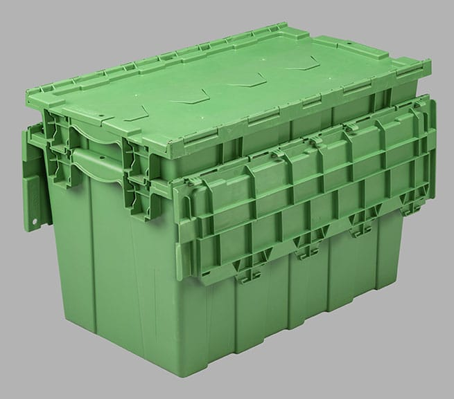 injection molded plastic stackable tote